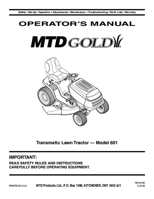 MTD Gold 601 Transmatic Tractor Lawn Mower Owners Manual