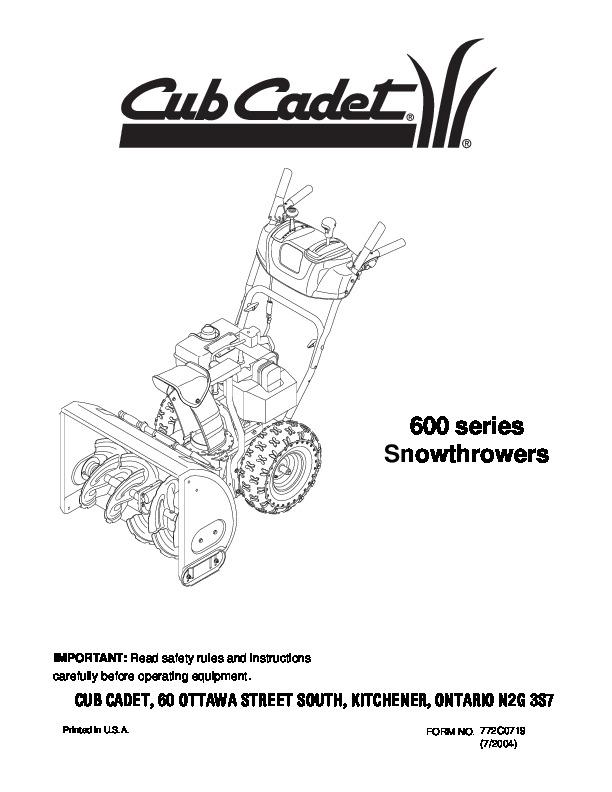 mtd cub cadet 600 series snow blower owners manual