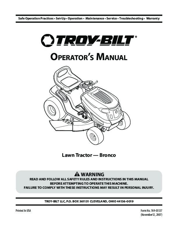 mtd troy bilt bronco garder tractor lawn mower owners manual rh filemanual com troy bilt lawn mower user manual troy bilt bronco lawn mower owner's manual