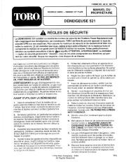 Toro 38054 521 Snowthrower Manuel des Propriétaires, 1995 page 1