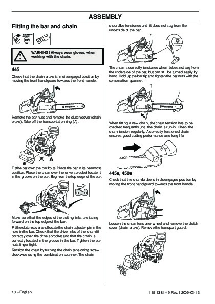 Husqvarna Chainsaw 450 Manual Manual Guide