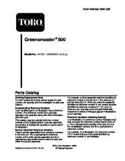 Toro 04130, 04215 Toro Greensmaster 500 Parts Catalog, 2005 page 1