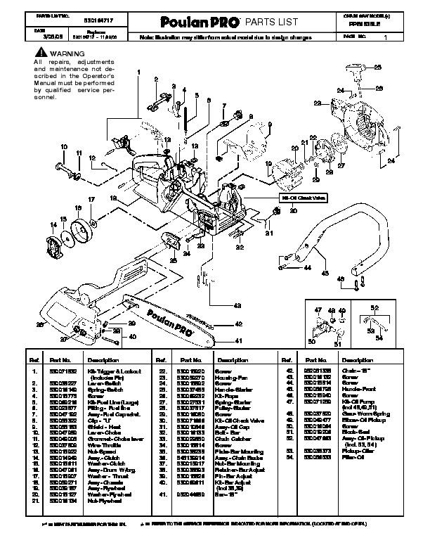 2008 poulan pro ppb1838 le chainsaw parts list