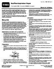 Toro 51593 Super Blower/Vacuum Manuel des Propriétaires, 2010, 2011, 2012, 2013, 2014 page 1