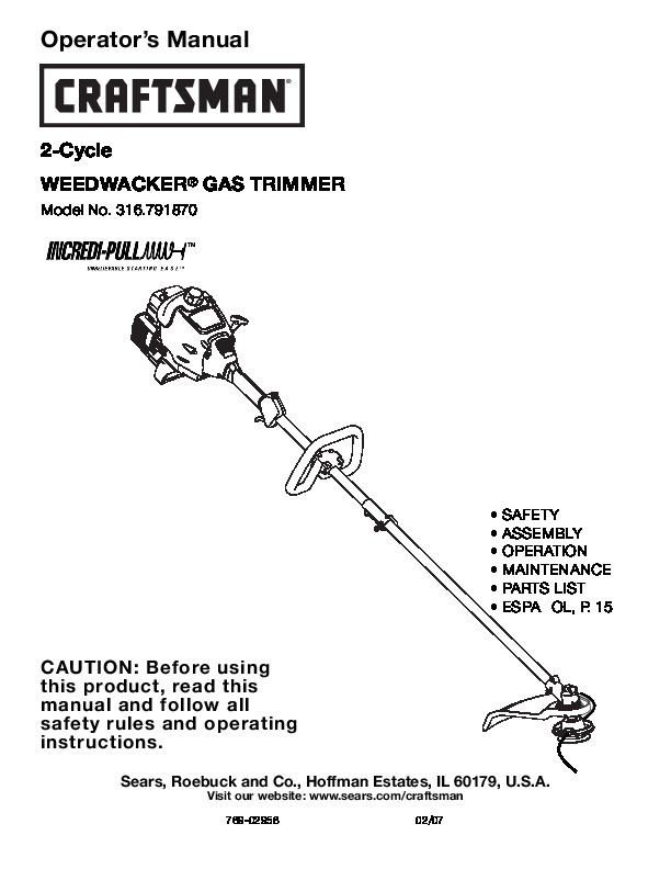 craftsman 316 791870 2 cycle trimmer lawn mower owners manual rh filemanual com Craftsman Gas Trimmer Repair Craftsman Electric Corded Grass Trimmers