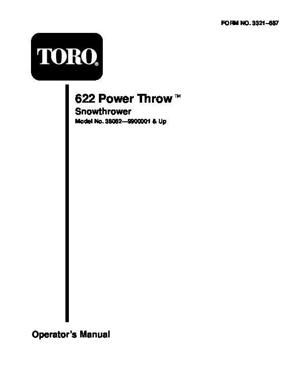 toro 622 38062 snow blower owners manual 1999 rh lawn garden filemanual com Toro Snow Thrower Parts Toro Snow Thrower 88Cc