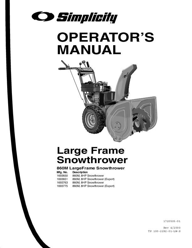 simplicity 860 1693650 1693651 1693763 1693775 snow blower owners manual rh filemanual com simplicity 860 snowblower repair manual Simplicity Snowblower Engine Parts Diagram