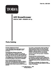 Toro 38051 522 Snowthrower Parts Catalog, 2000 page 1