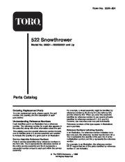 Toro 38051 522 Snowthrower Parts Catalog, 2000 page 1