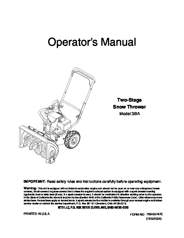 kimpex snow blower owners manual