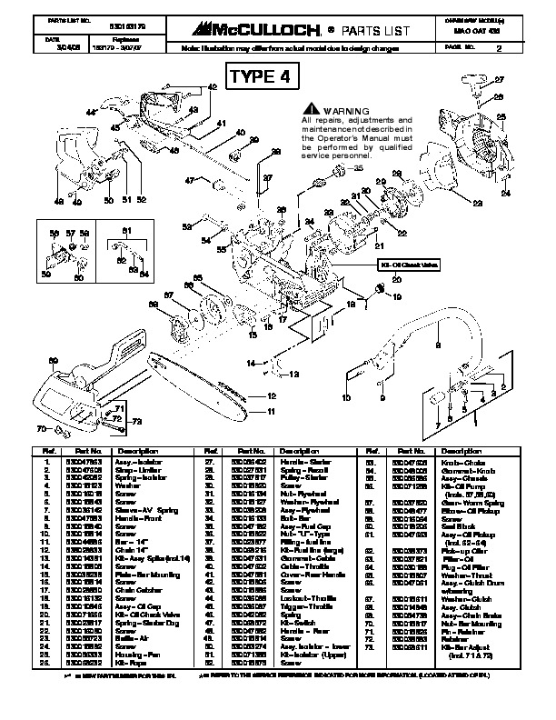 Mcculloch Mac Cat 436 Chainsaw Parts List