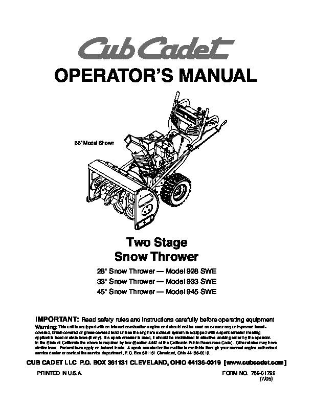 mtd cub cadet 928 swe 933 swe 945 swe snow blower owners cub cadet snow blower manual and parts list cub cadet snow blower manual 3 stage