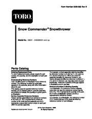 Toro 38601 Toro Snow Commander Snowthrower Parts Catalog, 2004 page 1
