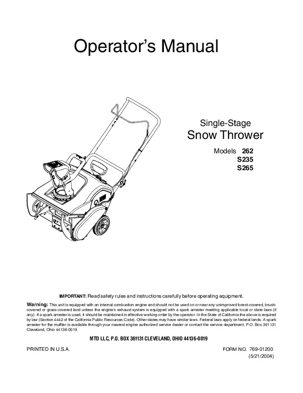 Mtd 262 S235 S265 Single Stage Snow Blower Owners Manual