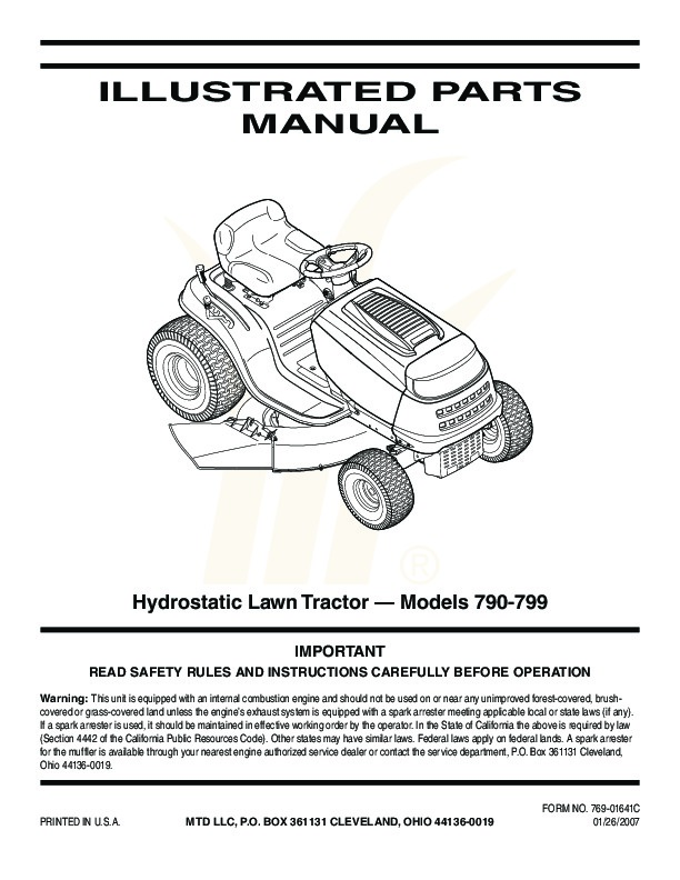 Mtd Lawn Tractor Parts : Mtd hydrostatic lawn tractor mower parts list
