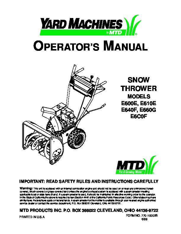 34 Mtd Yard Machine Parts Diagram Manual Guide