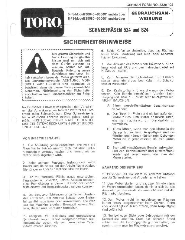 toro 38040 524 snowblower manual  1979