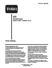 Toro 38051 522 Snowthrower Parts Catalog, 2001 page 1