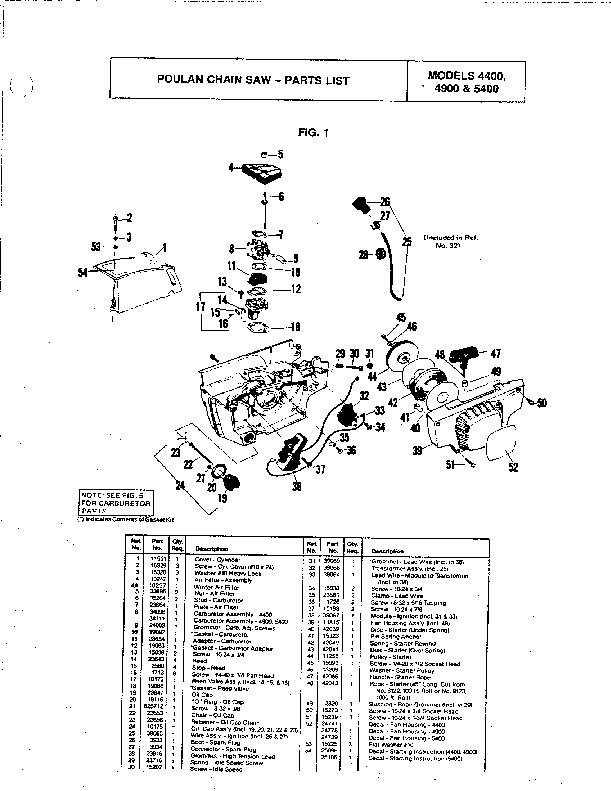 poulan 4400 4900 5400 chainsaw parts list