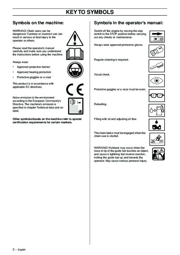 Husqvarna Chainsaw User Manual Various Owner Manual Guide