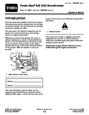 Toro Power Max 828OXE 38637 Snow Blower Owners and Service Manual 2008 page 1