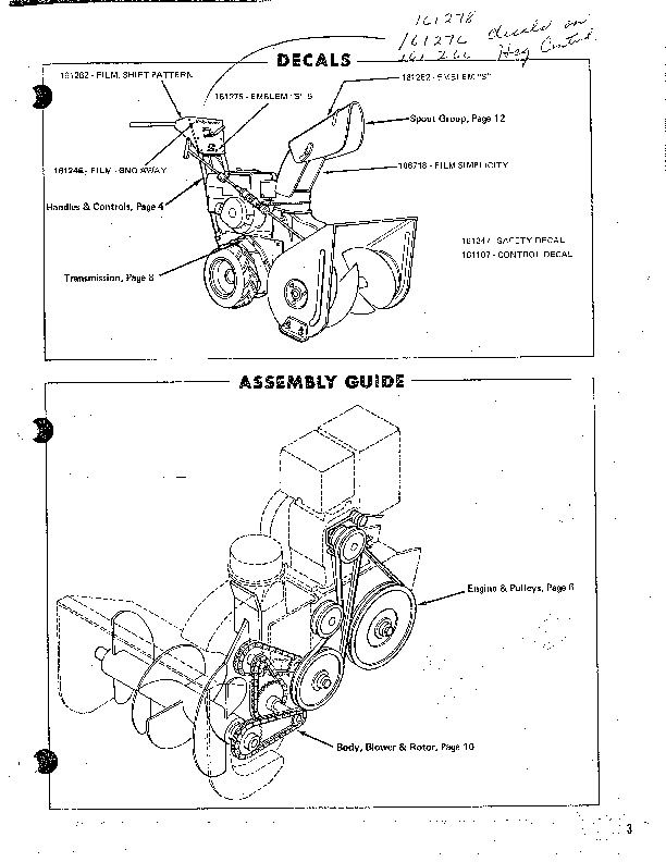 Simplicity 5 Hp 551 219 463 2191 10805 10832 Snow Blower Parts Manual