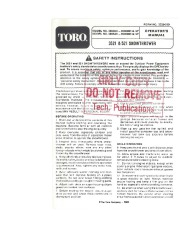 Toro 38052C 521 Snowblower Manual, 1989 page 1