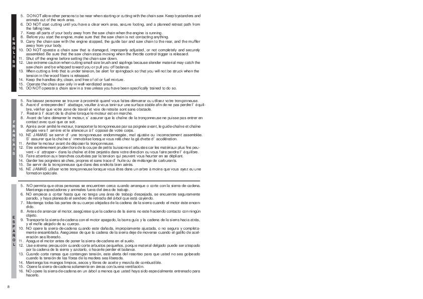 Mccullough Ms1635 repair manual