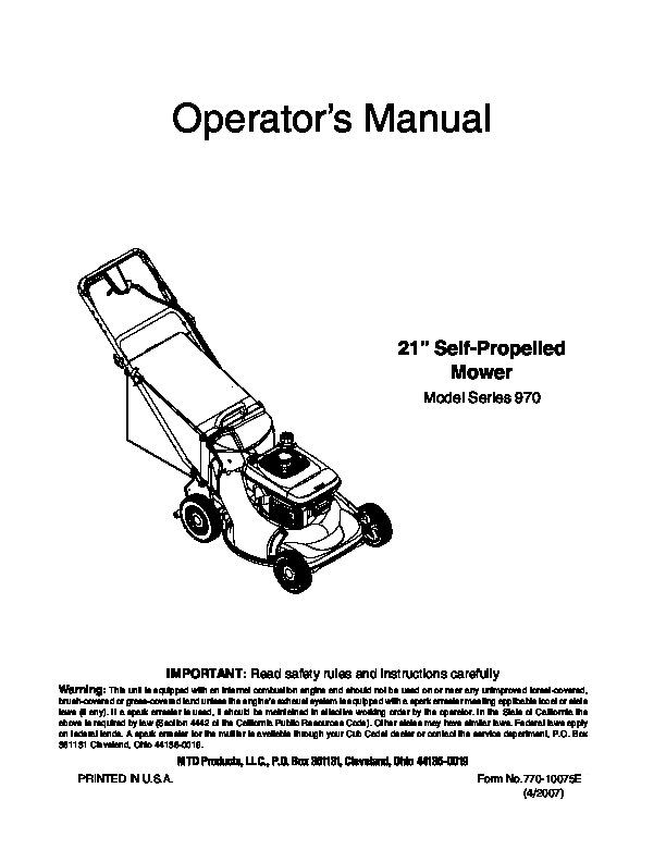 Mtd riding mower parts Manual