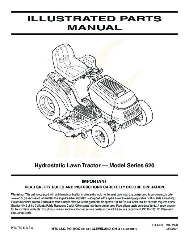 Mtd 46 mower Repair manual Codes