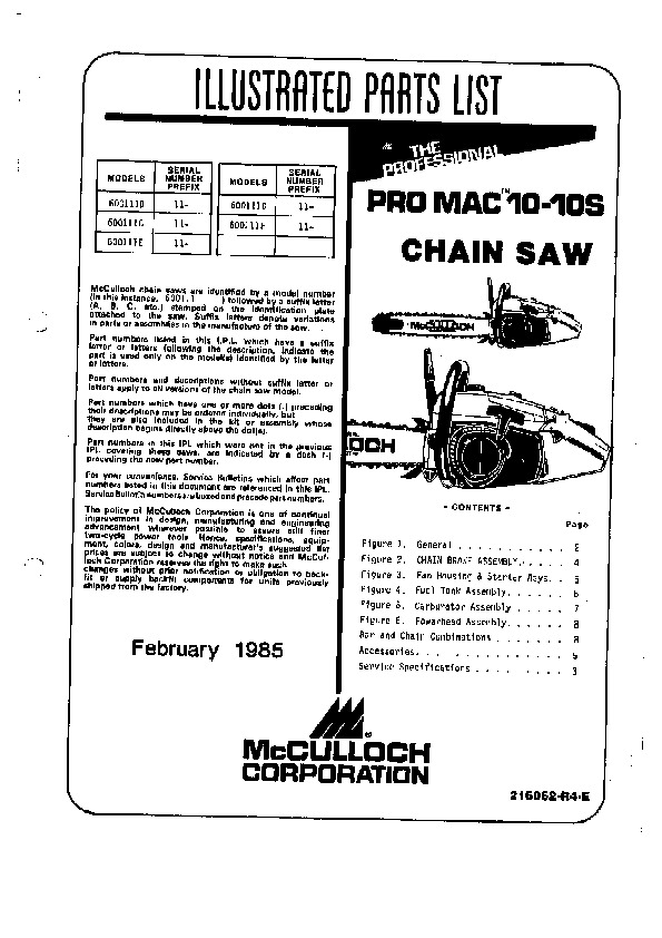 Mcculloch D44 Chainsaw service Manual