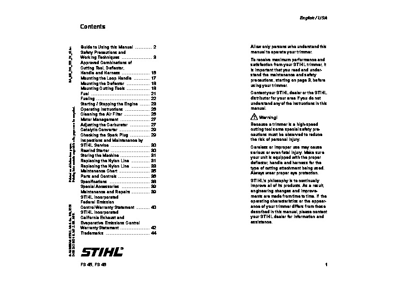 Stihl Fs 44 owners manual