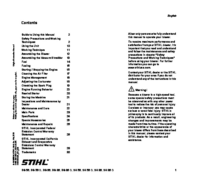 Stihl Hs 56 C Parts Manual