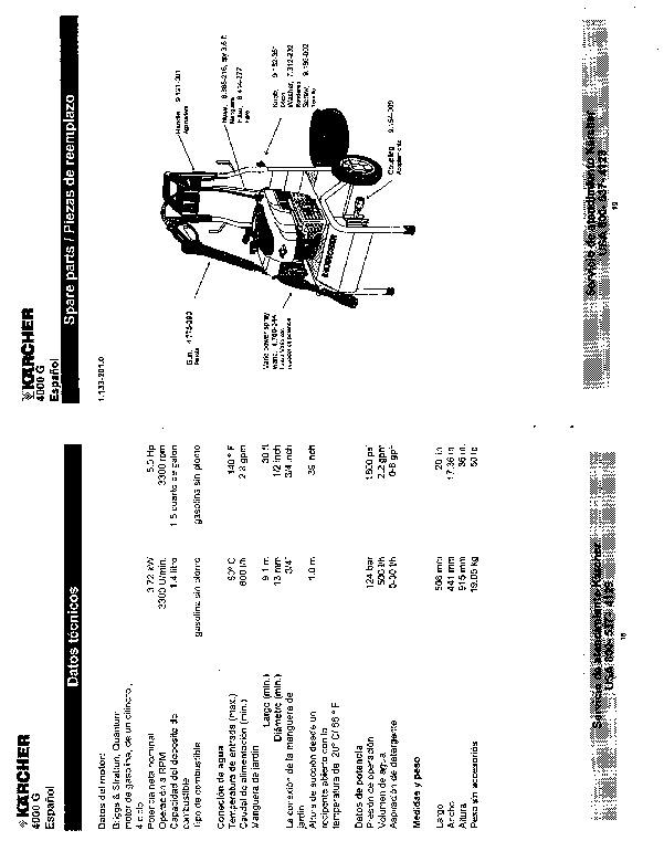 Karcher 4000 g pressure Washer Manual