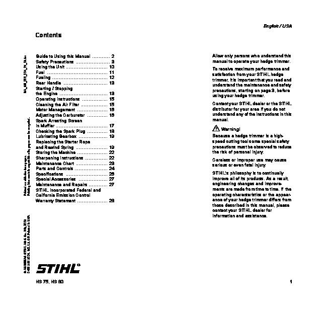 Stihl hs 80 parts Manual