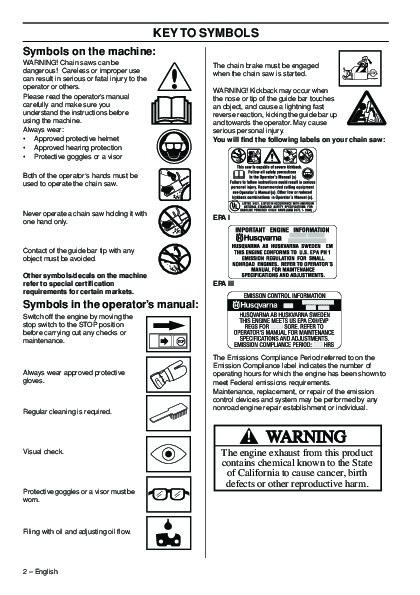 Husqvarna 372 Chainsaw manual