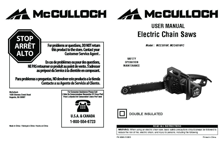 Mcculloch 2214av chainsaw manual