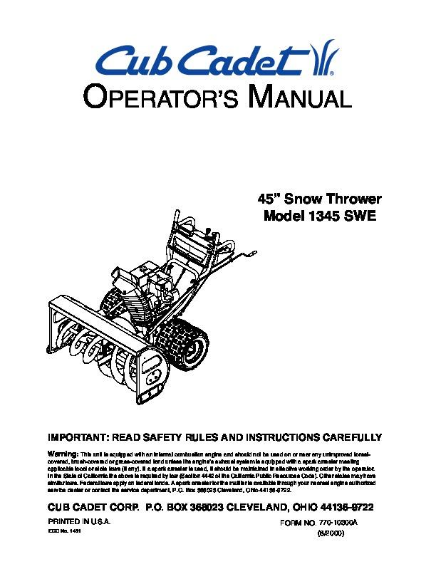 Cub cadet Lxt1045 repair Manual