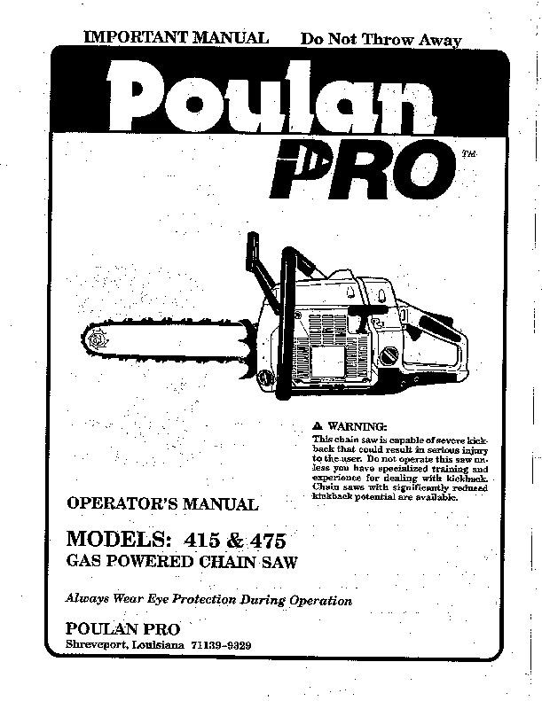 Poulan pro 25cc Repair Manual