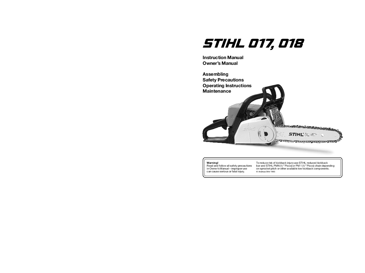 Stihl 017 018 Chainsaw Owners Manual Carburetor Diagram Free Engine Image For User
