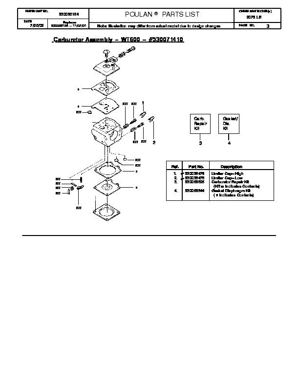 Poulan chainsaw Service manual 2375
