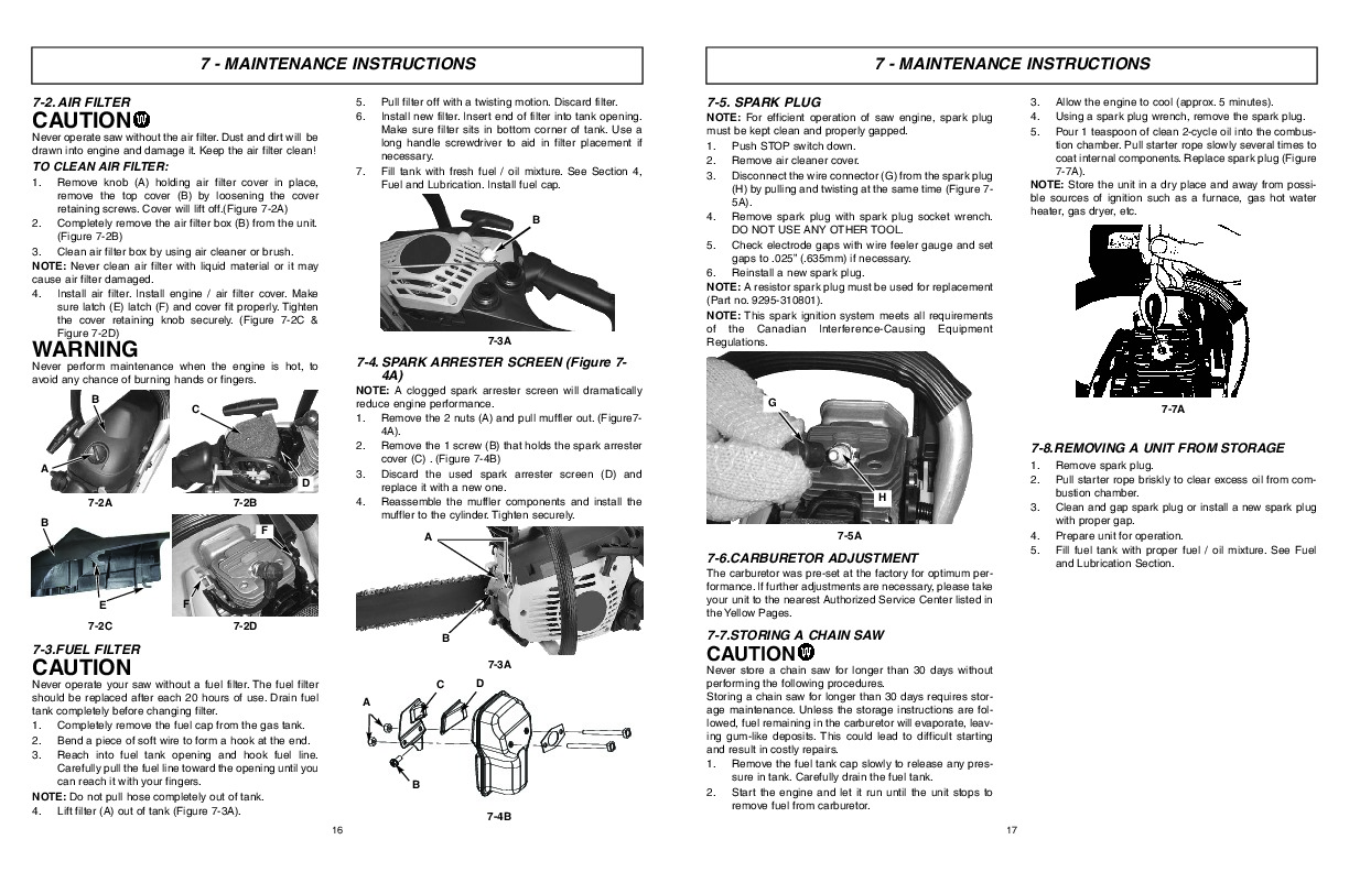 Mcculloch Chainsaw 310 owners Manual