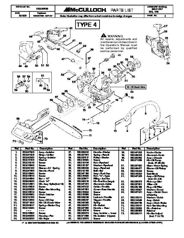 Poulan pro 335 Repair Manual