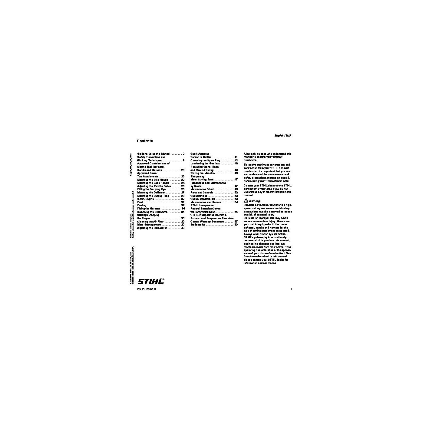 Fs66 Stihl service manual repair Guide