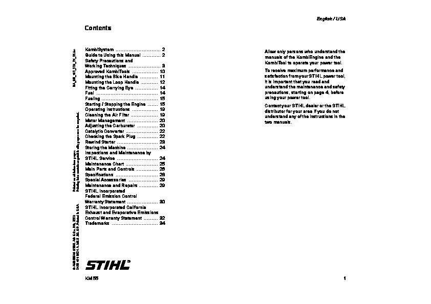 Stihl km 55r manual