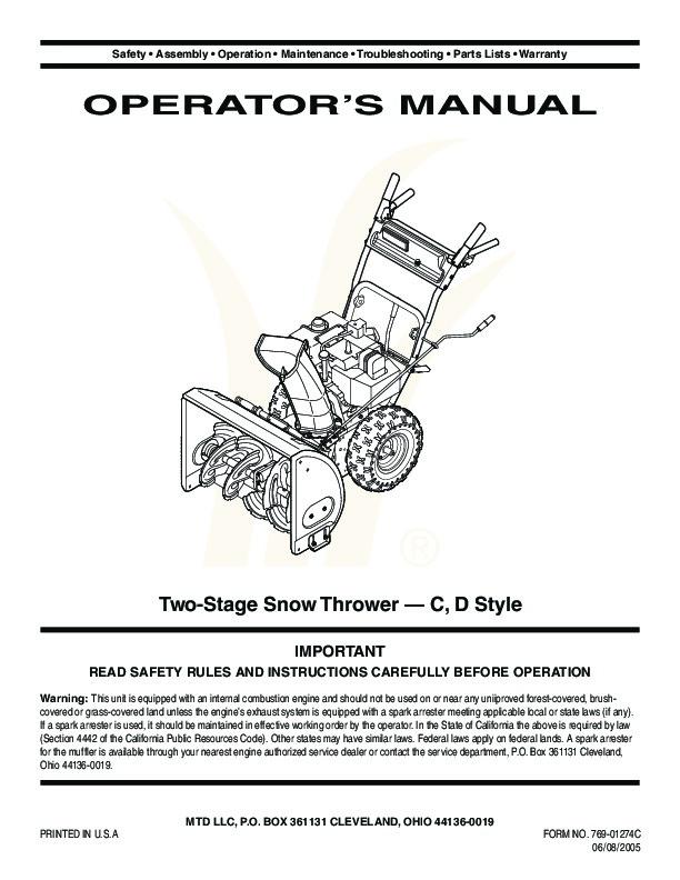 Snow king by Mtd Manual
