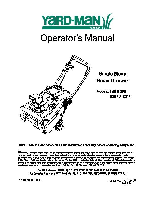 Mtd Yard Machine repair Manual