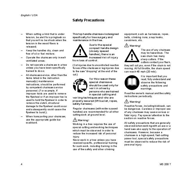 Stihl ms 200 user manual