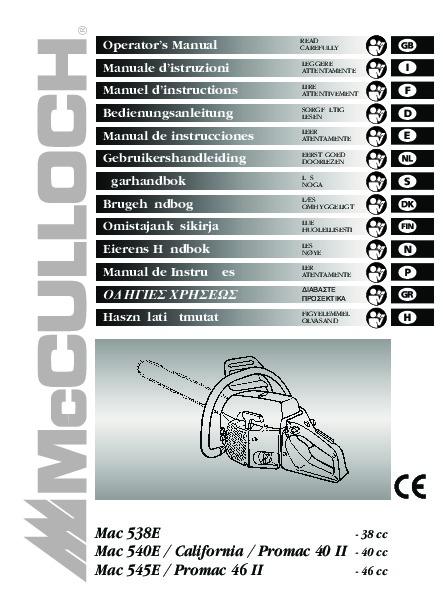 Mcculloch 320 Chainsaw Manual